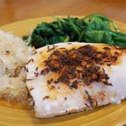 cod sauerkraut spinach